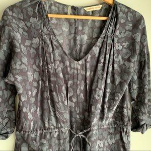 Rebecca Taylor silk blue leopard shirtdress